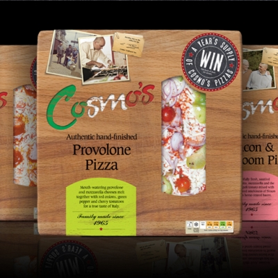 Design of packaging for Cosmo's pizzas