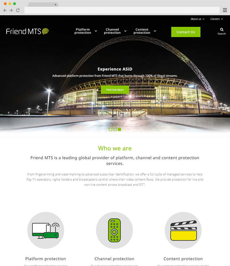 FriendMTS website on desktop screenshot