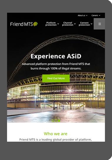 FriendMTS website on tablet screenshot