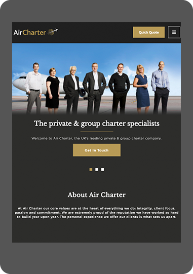 AirCharter website on tablet screenshot
