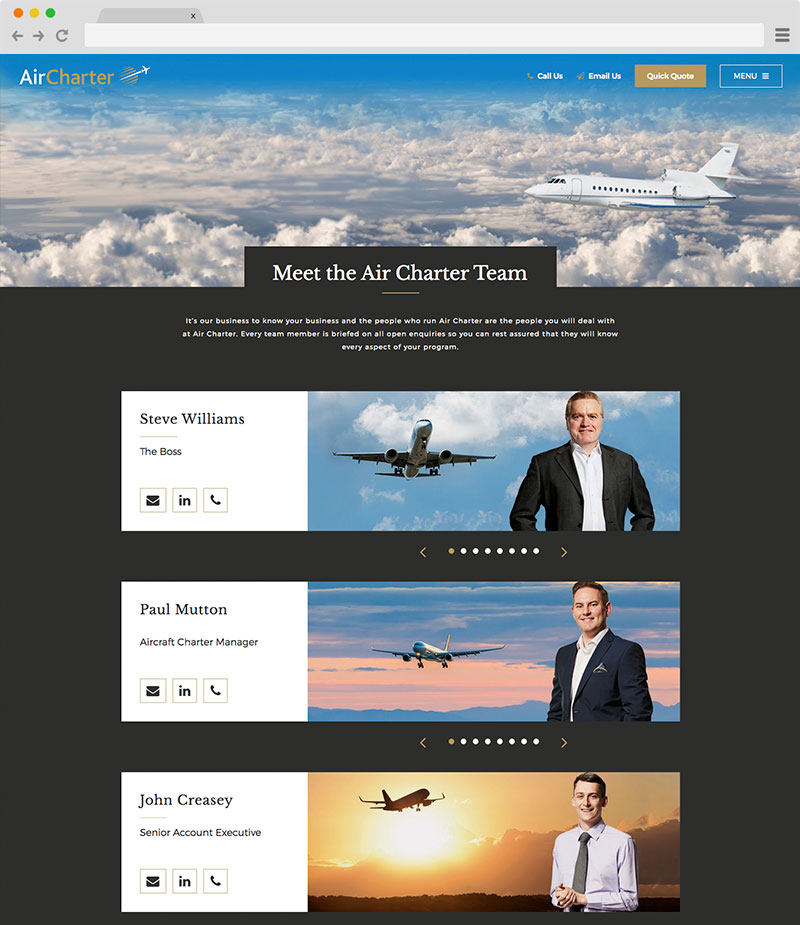 AirCharter website on desktop screenshot