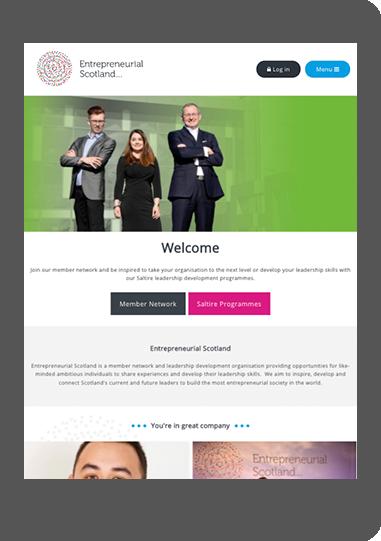 Entrepreneurial Scotland website on tablet screenshot
