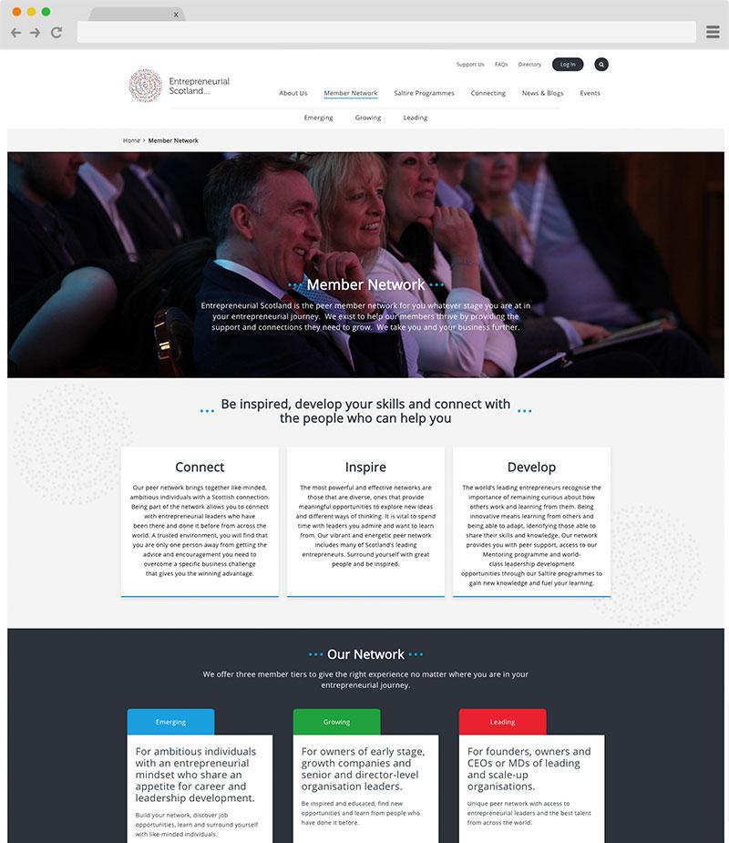 Entrepreneurial Scotland website on desktop screenshot