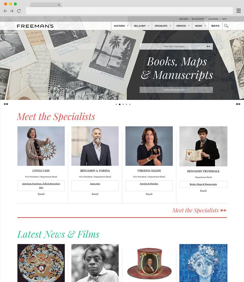 Freeman's and Lyon & Turnbull website on desktop screenshot