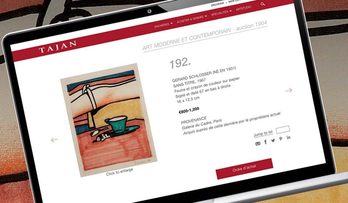 Desktop website design for Tajan