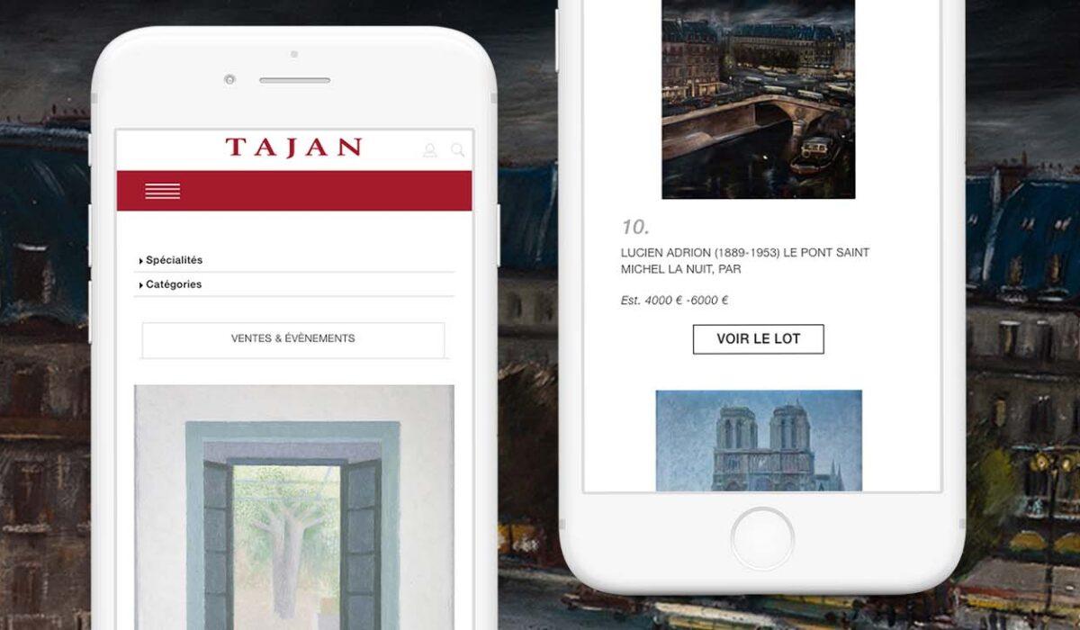 Mobile website design for Tajan